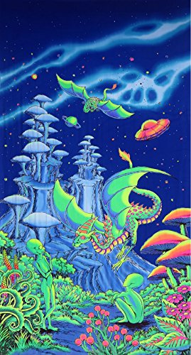 Psychedelic Tapestry 'Aliens and Dragons' - Hand-painted and silkscreen batik wall-hanging - UV active wall-hanging -Trippy wall art - Black light active trippy tapestry - Fantasy tapestry