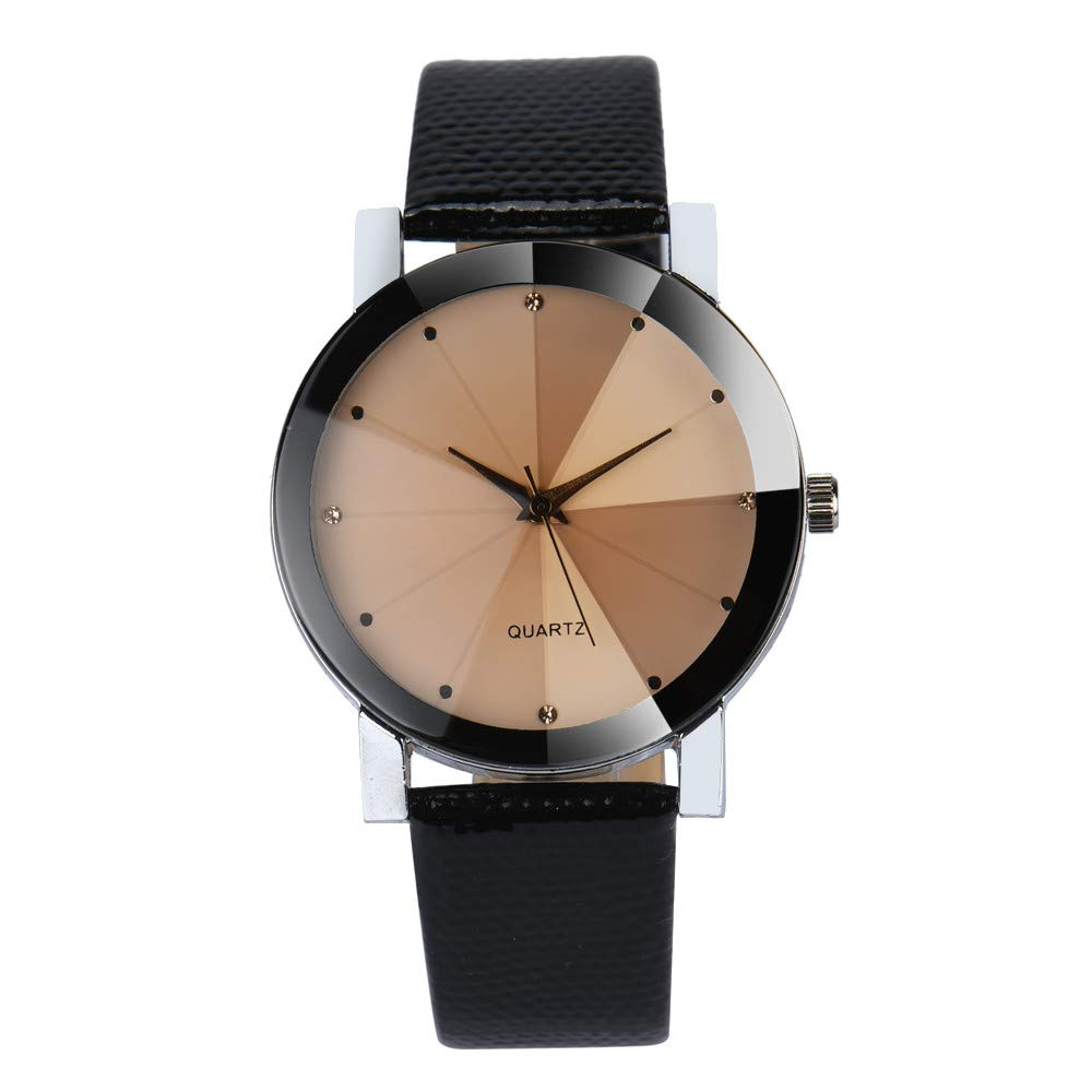 Amazon.com: Luxury Watches for Men DYTA Stainless Steel Case Leather Strap Wrist Watch on Simple Watches Black Face Casual Analog Quartz Watches Relojes De ...