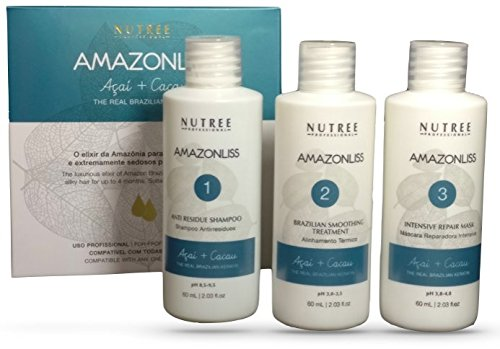 Nutree Professional Amazonliss Brazilian Keratin Hair Straightening/Smoothing Treatment Kit, 1.7 oz, 3 Pack by Nutree Professional