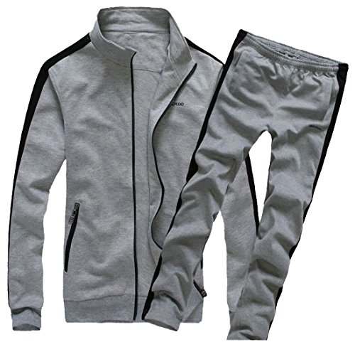 New ainr Men's Simple Stand-Neck Color Block Zipper Sweatshirt Sports Suit