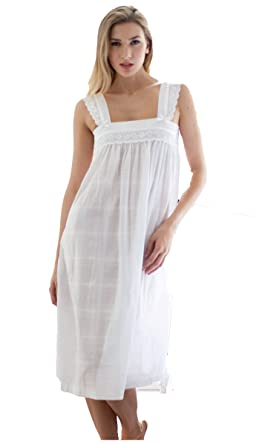 4fe3d04a43 Cotton Nightdress Wide Shoulder Strap Nightdress Pure Cotton  Amazon.co.uk   Clothing
