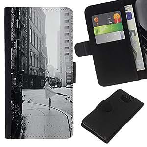 KLONGSHOP // Tirón de la caja Cartera de cuero con ranuras para tarjetas - Calle bailarina Vintage Negro Blanco Danza - Samsung ALPHA G850 //