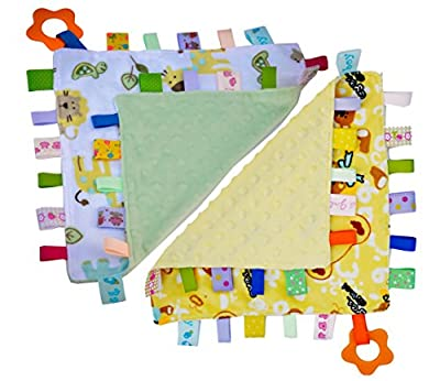 Handmade Teething Cloths (2-Pack) by Zoomy Baby - Baby Teething Toys / Teething Blanket - Ultra Soft Cotton Sensory Blanket with Play Ring & Ribbon Tags - Infant & Baby Toys. BPA Free by Zoomy Baby LLC that we recomend personally.