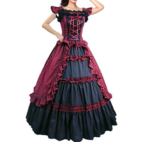I-Youth Women's Short Sleeve Ruffles Lolita Dress Masquerade Gown Gothic (S, Wine -