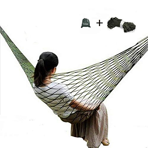 - TOOGE Travel Camping Hammock - Comfortable Hanging Nylon Mesh Rope Hammock Sleeping Hanging Bed for Hiking Camping Outdoor Travel Sports Beach Yard (Hammock)