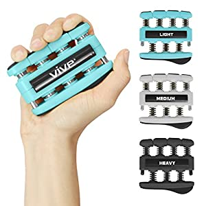 Vive Finger Strengthener (3 Pack) Guitar Digit Exerciser Hand Grip Workout Equipment for Musician, Rock Climbing and Therapy Master Gripper Exercise Tool Forearm Muscle Strengthening Kit