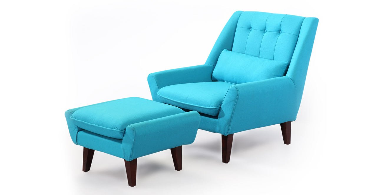 Amazon.com: Kardiel Stuart Mid Century Modern Lounge Chair U0026 Ottoman, Deco  Blue Cashmere Wool: Kitchen U0026 Dining