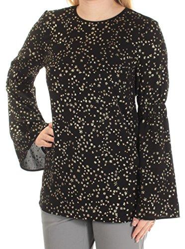 Michael Kors Womens Star-Print Bell-Sleeve Blouse Black S