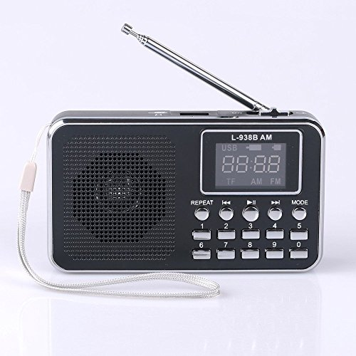 Mfine 938B Black Portable Speaker AM/FM Radio Music Player Micro SD/TF Card