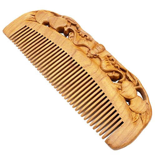Price comparison product image YOY Natural Wood Hair Comb - Handmade Antistatic No Snag Brush for Men's Mustache Beard Care Anti Dandruff Women Girls Head Hair Accessory, Peach