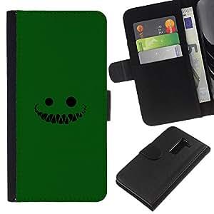 LECELL--Cuero de la tarjeta la carpeta del tirón Smartphone Slots Protección Holder For LG G2 D800 -- Cara verde --