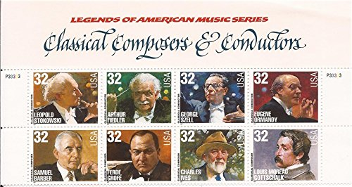 CLASSICAL COMPOSERS & CONDUCTORS ~ STOKOWSKI ~ FIELDLER ~ SZELL ~ ORMANDY ~ BARBER ~ GROFE ~ IVES ~ GOTTSCHALK #3165a Block of 8 x 32¢ US Postage Stamps