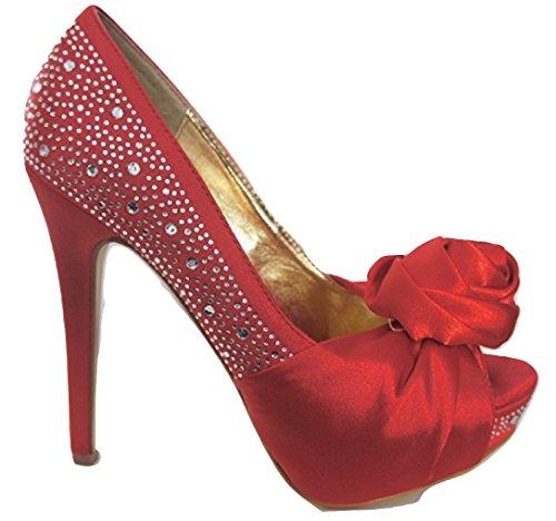CASANDRA Red Satin Diamante Corsage Peep Toe Court Shoes cxdhGqerE8
