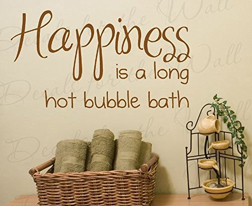 Wall Decal Letters Happiness is a Long Hot Bubble Bath-Bathroom Kids Baby-Quote Design Decal Large Wall Saying Sticker Adhesive Vinyl Art Letters Bedroom Decor