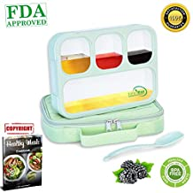 Bento Lunch Box & Insulated Lunch Bag | Leakproof, Eco-Frienfly & BPA Free Container | for Healthy, Dry & Liquid Food, Portion Control, Meal Prep, Adults & Kids | by SaferMeal