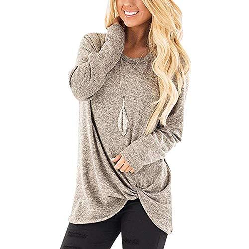 Ilfioreemio Women Knit Tunic Top Round Neck Blouse Knot Twist Front Long Sleeve Casual Soft Sweatshirt Khaki ()