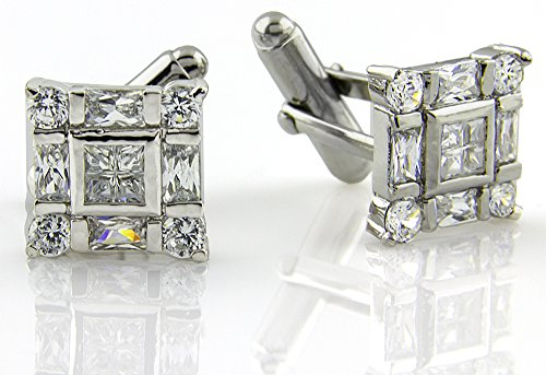 Men's Sterling Silver .925 Square Cufflinks with Princess-Cut Cubic Zirconia CZ Stones, Platinum Plated, 17mm by 13mm. By Sterling Manufacturers