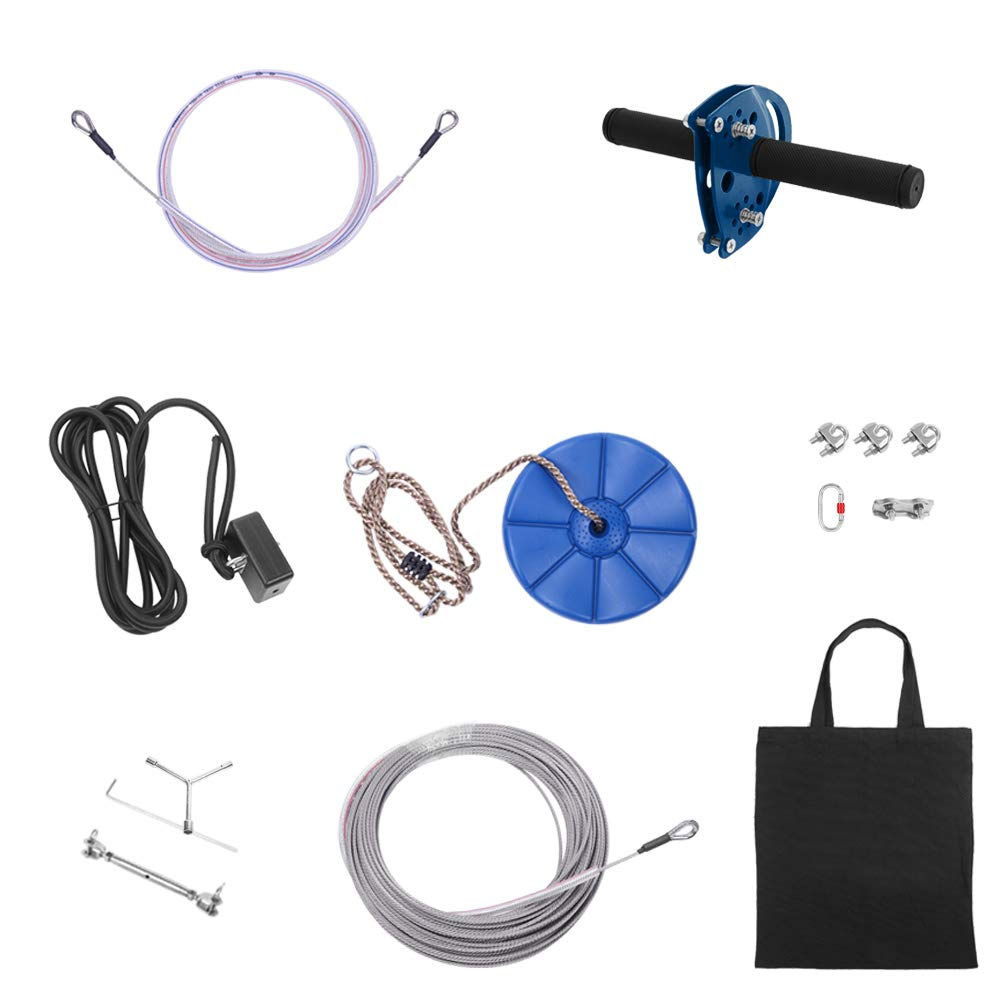 NewMultis Zip Line Kit for Kids and Adult Hand Shank Disk Safety Rope Wire Rope