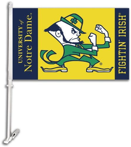 NCAA Notre Dame Fighting Irish Car Flag with Free Wall Bracket