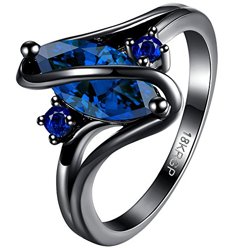 BOHG Jewelry Womens Black Gold Plated Blue Sapphire Stone Cubic Zirconia CZ Halo Engagement Wedding Ring