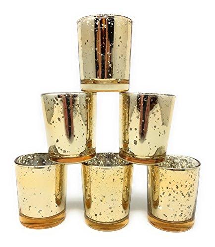 12 bulk gold mercury glass votive candle holder medieval merchandise. Black Bedroom Furniture Sets. Home Design Ideas