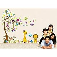 1 X Jungle Zoo Happy Owl, Lion with Giraffe Wall Decal...
