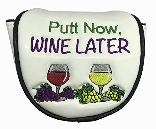 Giggle Golf Mallet Putter Cover | Great Golf Gift & Golf Bag Accessory (Putt Now Wine Later)