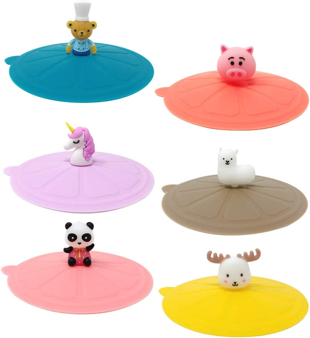 Wrapables Silicone Cup Lids, Anti-Dust Airtight Mug Covers for Hot and Cold Beverages (Set of 6), Charming Animals