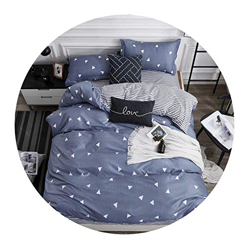 White Black Geometric Grid Bedding Set Brief Style 3/4PCS Bedspread Bed Linen Euro Home Textiles Printing Bedclothes,27,Full