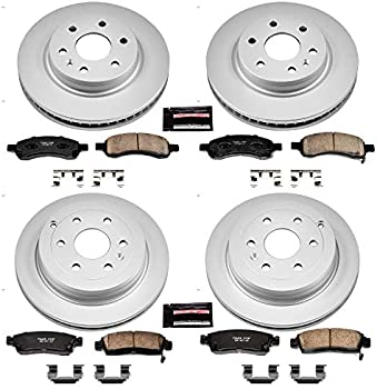 Power Stop CRK5637 Front /& Rear Kit-Coated Rotors and Z23 Ceramic Brake Pads