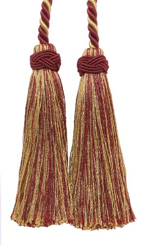 Double Tassel / Burgundy Red, Gold / Tassel Tie with 4 inch Tassels, 26″ Spread (Cord Length), Imperial II Collection Style# ICT Color: BURGUNDY GOLD – 1253