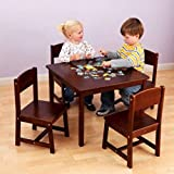 KidKraft Farmhouse Childrens Table and 4 Chairs Set, Multiple Colors (Pecan)