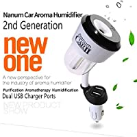 Car Humidifier 2 USB Charger Port Essential Oil Aroma Diffuser Portable Ultrasonic Mini Cool Mist Humidifier Air Purifier Aromatherapy Mist Maker Humidificador (Black)