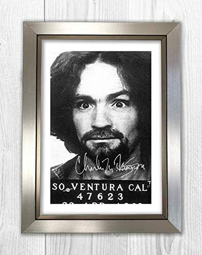 2 Charles Manson A4 Mug Shot reproduction autograph poster Choice of frame.