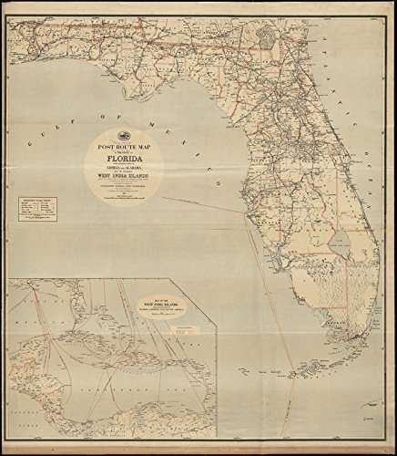 Historic Map | 1891 Post route map of the State of Florida with adjacent parts of Georgia and Alabama also the neighboring West India Islands showing post office | Antique Vintage Reproduction
