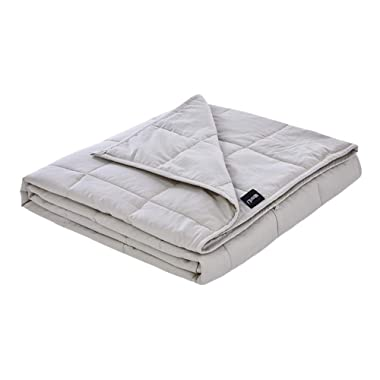 ZonLi Washable Weighted Blanket 15lbs(60''x80'', Queen Size), Cooling Weighted Blanket for Adults 130-160 lbs, Premium Cotton with Glass Beads, Gift for Your Loved