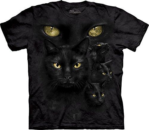 Eyes Adult Black T-shirt (Black Cat Moon Eyes T-Shirt-2XL)