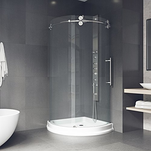 corner shower stall kits. Frameless Round Sliding Shower Enclosure With .3125-in. Clear Glass And Stainless Steel Hardware (Right-Sided Door) (Shower Base Included) Corner Stall Kits
