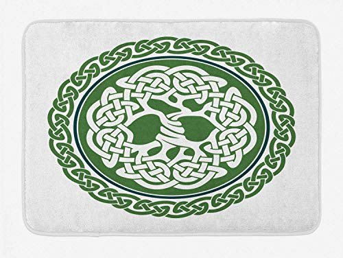 (Celtic Bath Mat, Illustration of Celtic Tree of Life on a Green Circle with Frieze, Plush Bathroom Decor Mat with Non Slip Backing, White Dark Teal Fern Green,15.7X23.6 inch)