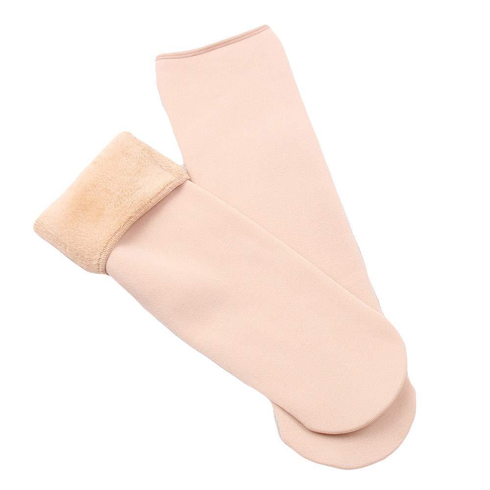 residentD 2pairs WomensThick Knit Sherpa Fleece Lined Thermal Floor Socks (Beige)