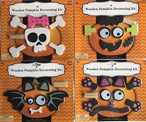 Halloween Push In No Carve Wooden Pumpkin Decorating Kits Set of 5 Reusable Bat, Skull, Frankie, Kitty, Witch Spider For Ages 4 and up. Great for Small and Medium Pumpkins