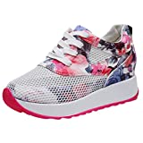 SUKEQ Hidden Heel Sneakers, Women's Lace Up Low Top Wedge Fashion Sneaker Flower Printed Breathable Mesh Platform Walking Shoes for Gym Trainers Sport Running (5.5 B(M) US, Pink)