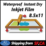 8.5'' x 11''-100 Sheets,Waterproof Inkjet Instant Dry Silk Screen Printing Transparency Film 5mil,Great for EPSON,HP,Canon Printers