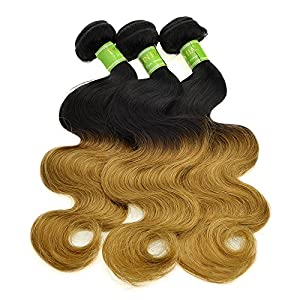 Feelontop 10pcs/lot Unprocessed Hair Weave T1b 27 Three Tone Malaysian Ombre Hair Extensions 6a Hair Body Wave (28inch)