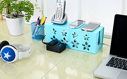 Cable Management Box Baby Safety Power Strip Cover for Home Office Hides All Wires Power Cord Surge Protector (Blue)