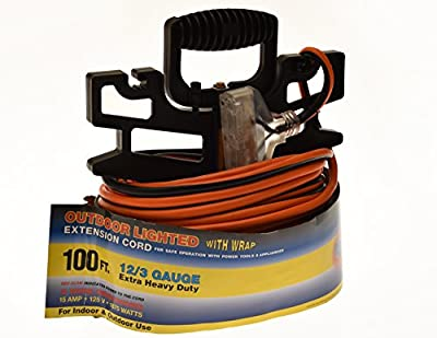 12/3 3-Prong Extension Cord - Extra Heavy Duty 12 Gauge Indoor Outdoor Industrial Quality Major Appliance Extension Cord with Wire Organizer and Handle, Lighted Indicator, UL Listed and Approved