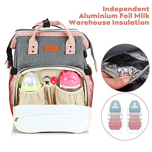 51cb3hzBZoL YOOFOSS Diaper Bag Backpack, Baby Nappy Changing Bags Multifunction Travel Back Pack with Changing Pad & Stroller Straps, Large Capacity, Waterproof and Stylish (Pink)    Product Description