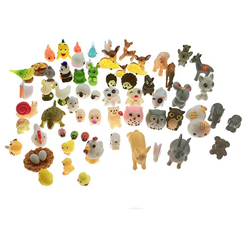 SIX VANKA Miniature Animals 65pcs Mini Resin Decoration Set for Childrens Birthday Party Kids Presents Doll House Pretend Play Toys DIY Garden Flowerpot Succulent Planter]()