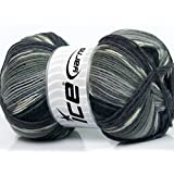 Lot of 4 x 100gr Skeins ICE YARNS Super Sock Grey Shades