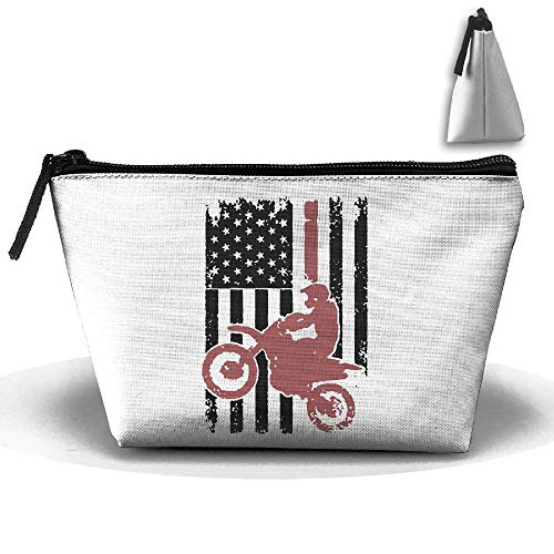 46b3e208beb5 Motorcycle American Flag Waterproof Trapezoidal Bag Cosmetic Bags Makeup  Bag Large Travel Toiletry Pouch Portable Storage Pencil Holders